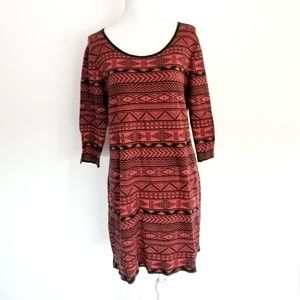Peruvian Connection Brick Red Cotton Dress